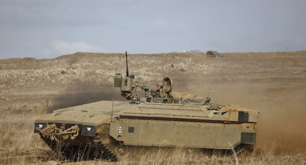 An Israeli Namer armored personnel carrier (APC) in the Israeli-occupied Golan Heights on November 20, 2017
