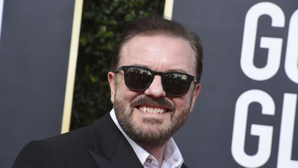 Ricky Gervais arrives at the 77th annual Golden Globe Awards at the Beverly Hilton Hotel on Sunday, Jan. 5, 2020, in Beverly Hills, Calif.  - Sputnik International