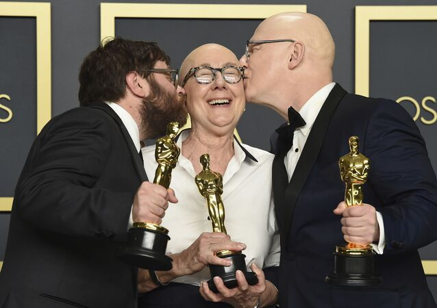 Winners of the award for best documentary feature for American Factory at the Oscars