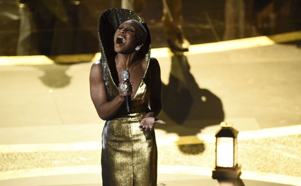 Cynthia Erivo performs Stand Up nominated for the award for best original song from Harriet at the Oscars on Sunday, 9 February 2020 at the Dolby Theatre in Los Angeles.