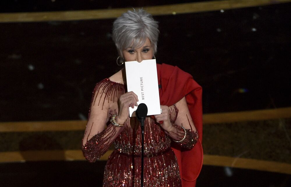 Jane Fonda presents the award for Best Picture at the Oscars on Sunday, 9 February 2020 at the Dolby Theatre in Los Angeles.