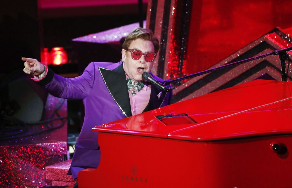 Elton John performs (I'm Gonna) Love Me Again from Rocketman during the Oscars show at the 92nd Academy Awards in Hollywood, Los Angeles, California on 9 February 2020.