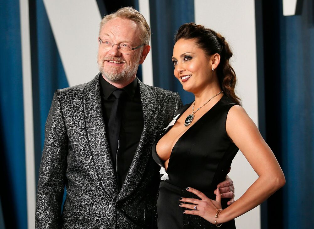 Jared Harris and Allegra Riggio attend the Vanity Fair Oscar party in Beverly Hills following the 92nd Academy Awards, in Los Angeles, California on 9 February 2020.