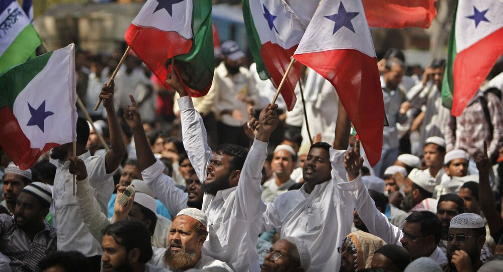 Indian Muslims from the Popular Front of India shout slogans to demand for affirmative action for Muslims in government jobs and in education, in New Delhi, India, Monday, March 15, 2010