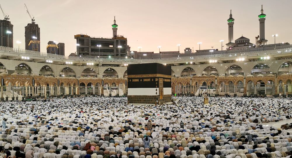 Muslims pray at the Grand Mosque during the annual Hajj pilgrimage in their holy city of Mecca