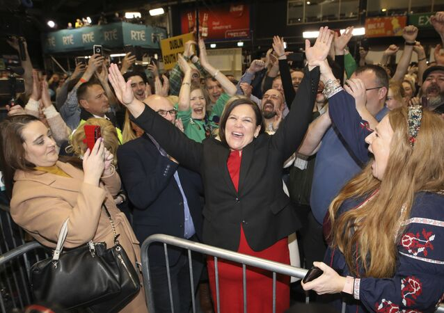 Sinn Fein leader Mary Lou McDonald celebrates with supporters after topping the poll in Dublin