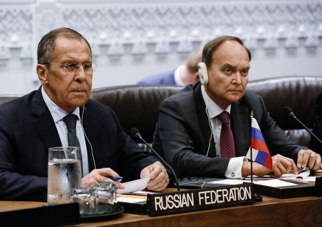 Russian Foreign Minister Sergey Lavrov and Ambassador of Russia to the United States Anatoly Antonov had a meeting with Chinese Foreign Minister Wang Yi on the margins of the 74th General Assembly.