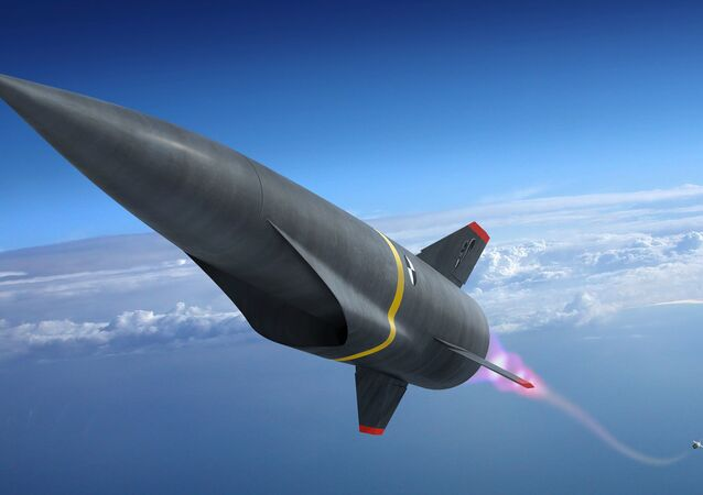 Artist's conception of a hypersonic missile during its launch phase.