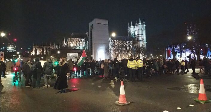 Demontrators block Bridge Street Parliament Street intersection having left 10 Downing Street