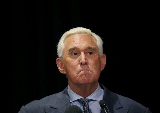 Roger Stone, a longtime ally of US President Donald Trump,  holds a news conference in Washington