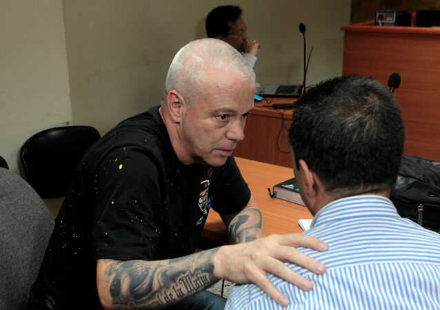 Jhon Jairo Velasquez, known as Popeye Sicario in the service of drug lord Pablo Escobar, before appearing before a judge after being captured in Medellín,  Colombia May 25, 2018