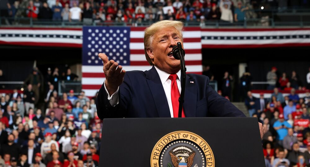 U.S. President Donald Trump rallies with supporters in Manchester, New Hampshire, U.S. February 10, 2020