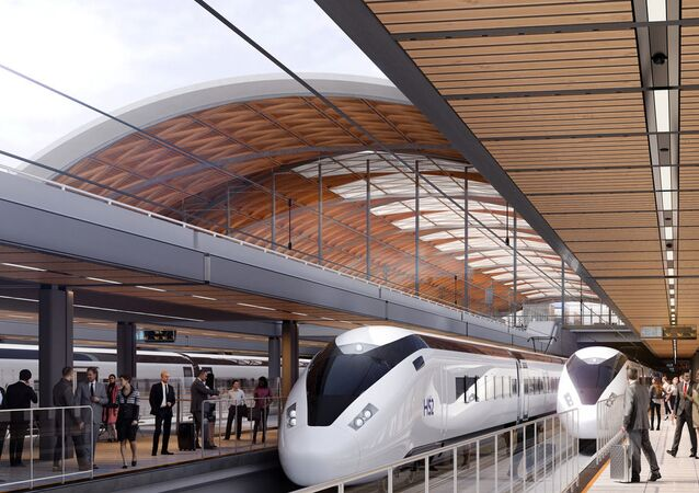 An artist's impression of HS2 trains in a new station in Birmingham
