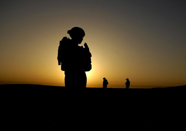 U.S. Army Soldier silhouette on mission in Iraq