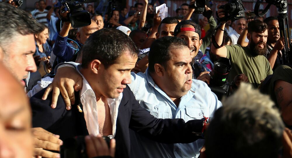 Venezuela's opposition leader Juan Guaido, who many nations have recognized as the country's rightful interim ruler, arrives at the Simon Bolivar international airport in Maiquetia, Venezuela February 11, 2020