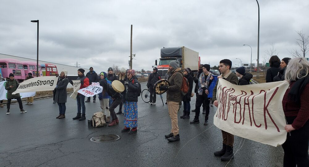 Protesters block the Halifax port railway in Halifax, Nova Scotia, Canada February 11, 2020