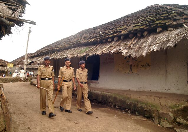 Police personnel patrol the village  in the central Indian state of Madhya Pradesh (File)