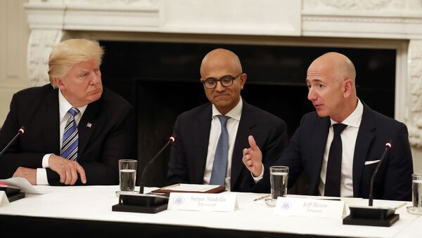 FILE - In this June 19, 2017, file photo, President Donald Trump, from left, and Satya Nadella, Chief Executive Officer of Microsoft, listen as Jeff Bezos, Chief Executive Officer of Amazon, speaks during an American Technology Council roundtable in the State Dinning Room of the White House in Washington - Sputnik International