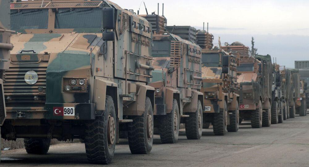 Turkish military vehicles are seen in Hazano near Idlib, Syria, February 11, 2020