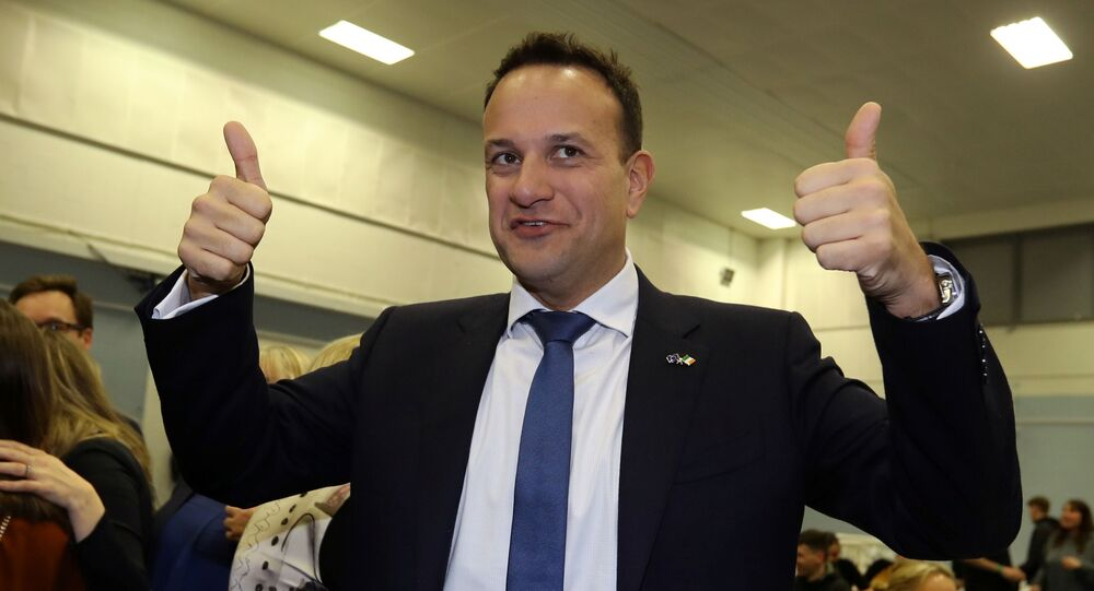 Irish Prime Minister Leo Varadkar reacts after the announcement of voting results, at a count centre during Ireland's national election, in Citywest, near Dublin, Ireland, February 9, 2020