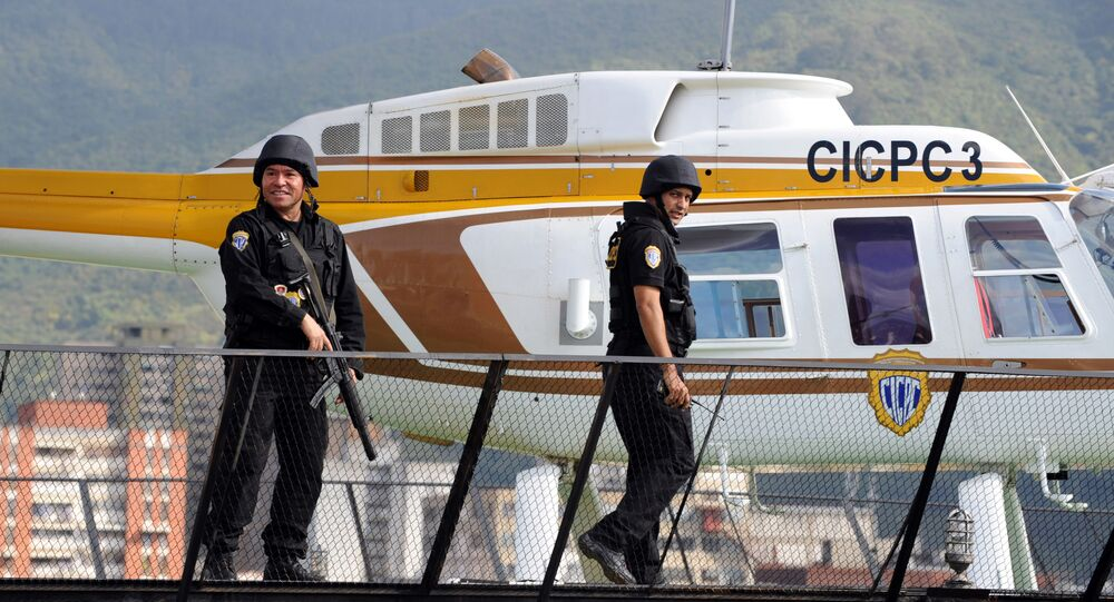 Security forces guard the heliport of the Board of Scientific, Penitentiary and Criminal Investigations (CICPC), before the deportation of drug trafficker (File)