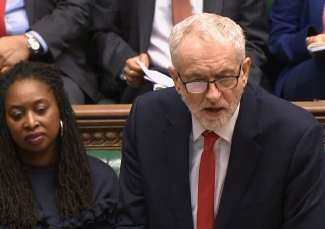 Jeremy Corbyn at House of Commons During PMQs 12 February 2020 no 2