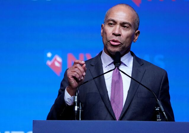 Deval Patrick appears on stage at a First in the West Event at the Bellagio Hotel in Las Vegas, Nevada, U.S., November 17, 2019.