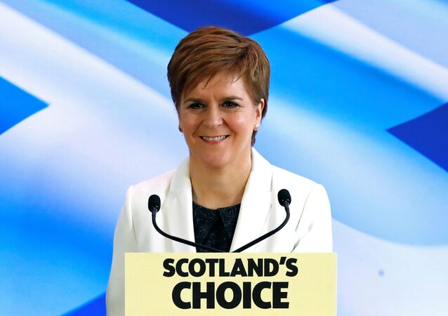 Scotland's First Minister Nicola Sturgeon reacts as she delivers a speech, on Brexit day, in Edinburgh, Scotland, Britain January 31, 2020.