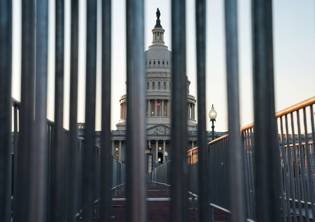 The U.S. Capitol building exterior is seen at sunset as members of the Senate participate in the first day of the impeachment trial of President Donald Trump in Washington, U.S., January 21, 2020.