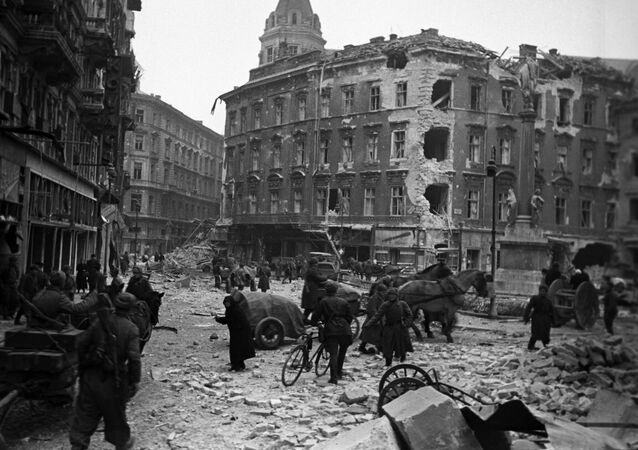 The Great Patriotic War, 1941-1945. On the streets of Budapest after liberation from the Nazis occupation, February 1945