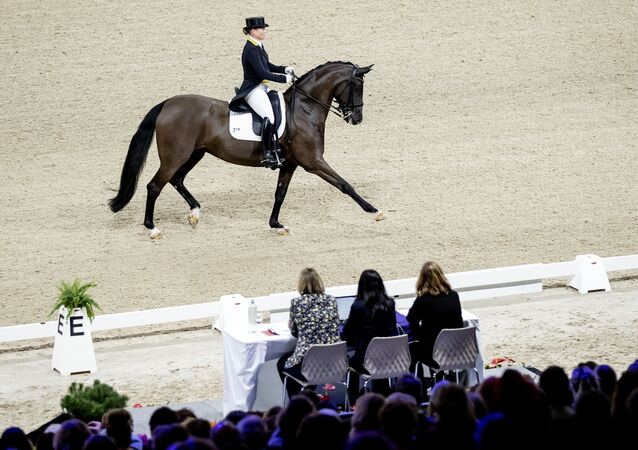 German equestrian Isabell Werth competes during the FEI Dressage World Cup at Jumping Amsterdam in the RAI on 24 January 2020