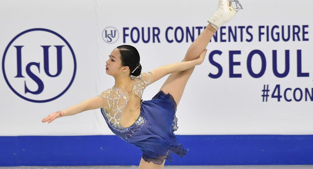 You Young of South Korea performs during the ladies free skating at the ISU Four Continents Figure Skating Championships in Seoul on February 8, 2020.