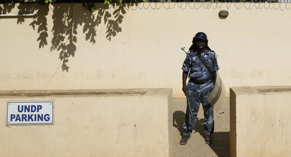 A Sudanese riot police officer