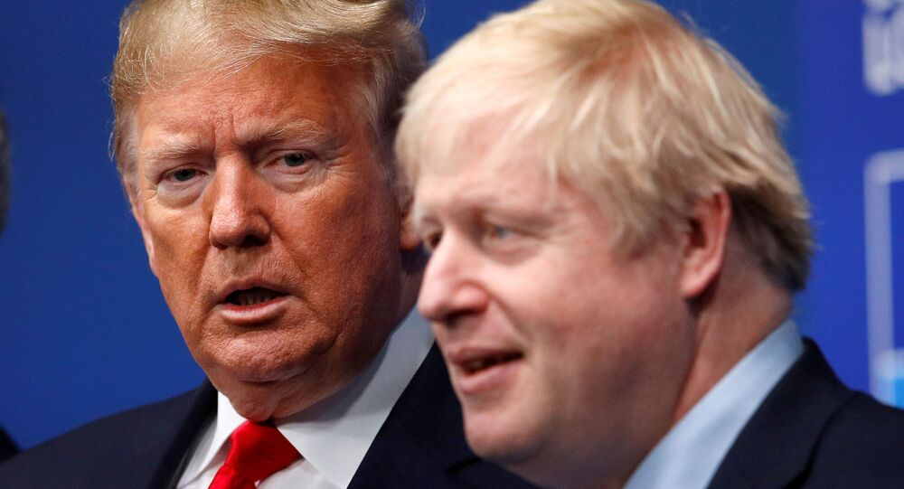 Britain's Prime Minister Boris Johnson welcomes U.S. President Donald Trump