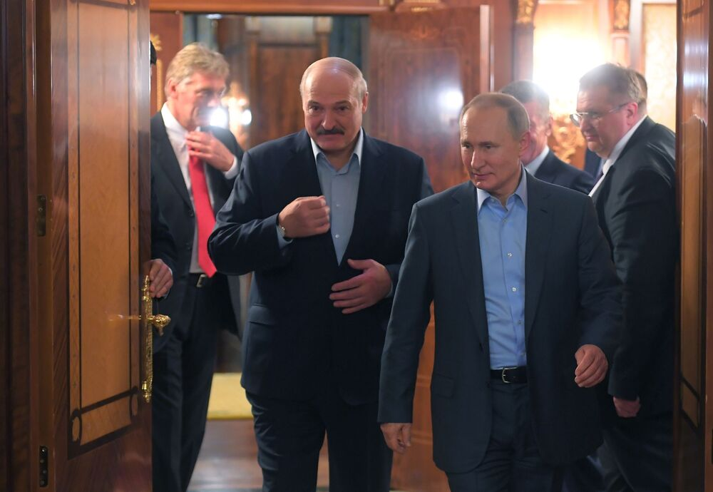 President of Belarus Alexander Lukashenko and Russian President Vladimir Putin during a meeting in Sochi on 7 February