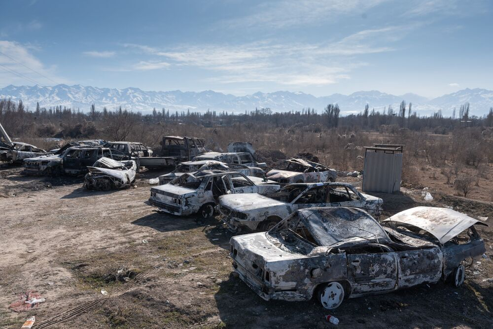 Cars burnt during mass protests in the Zhambyl region of Kazakhstan