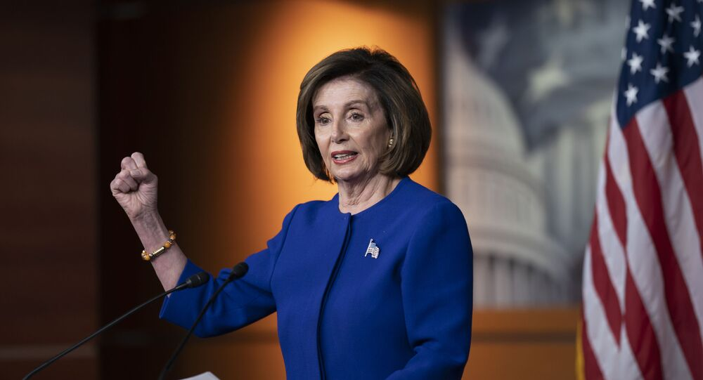 Speaker of the House Nancy Pelosi, D-Calif., talks to reporters just before the House vote to remove the deadline for ratification of the Equal Rights Amendment, on Capitol Hill in Washington, Thursday, 13 February 2020