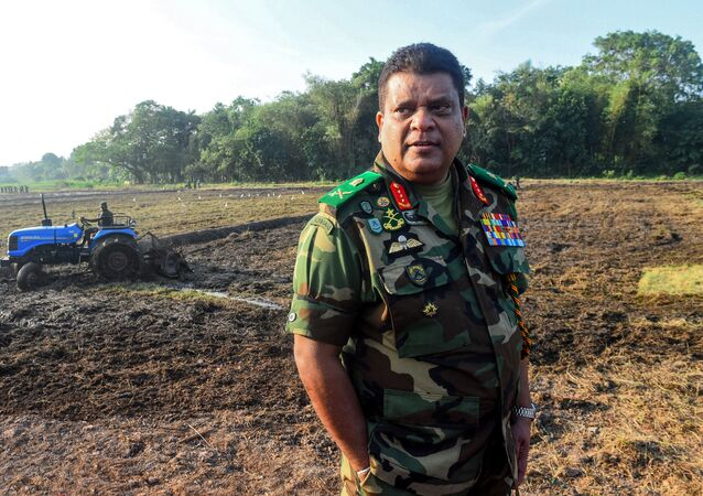 Sri Lanka's Army chief Shavendra Silva (R) oversees a military operation to revive abandoned rice paddies, as part of a nationwide effort to improve agricultural productivity, near Colombo on January 14, 2020.
