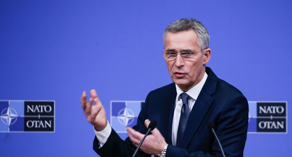 NATO Secretary General Jens Stoltenberg holds a press conference during a NATO Defence ministers' meeting in Brussels on February 13, 2020.