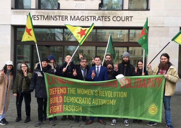 Supporters of Newey family outside of Westminster Magistrates' Court 14 Feb 2020