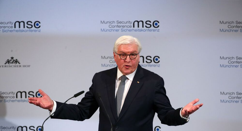 German President Frank-Walter Steinmeier speaks during the Munich Security Conference in Munich, Germany February 14, 2020.