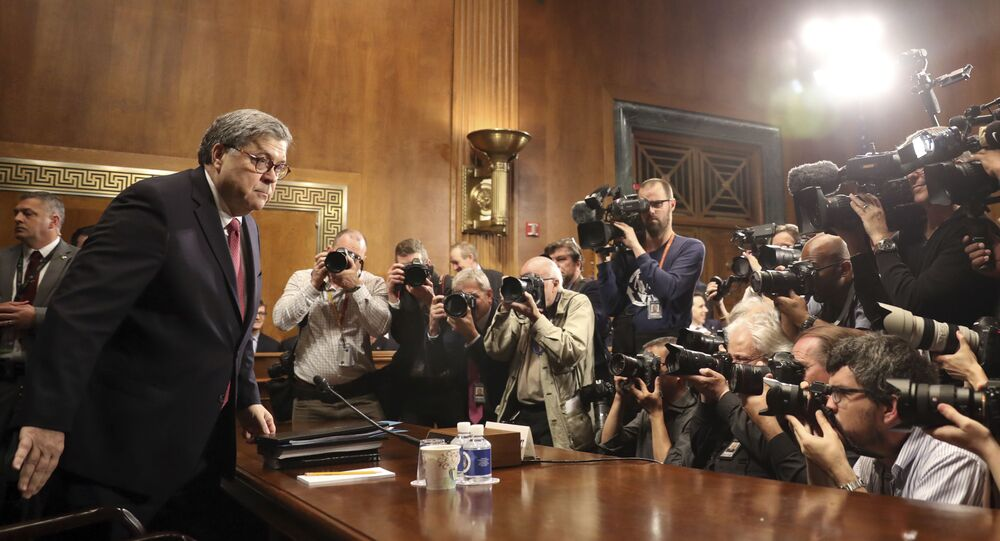 Attorney General William Barr arrives to testify during a Senate Judiciary Committee hearing on Capitol Hill in Washington, Wednesday, May 1, 2019, on the Mueller Report.