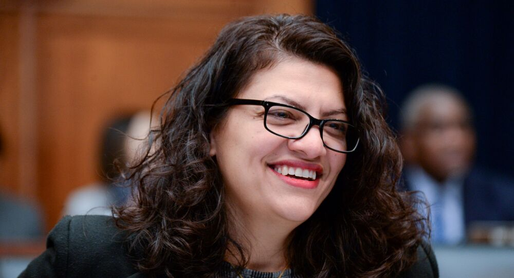 Rep. Rashida Tlaib (D-MI) participates in a House Financial Services Committee hearing with Facebook Chairman and CEO Mark Zuckerberg in Washington, U.S., October 23, 2019.