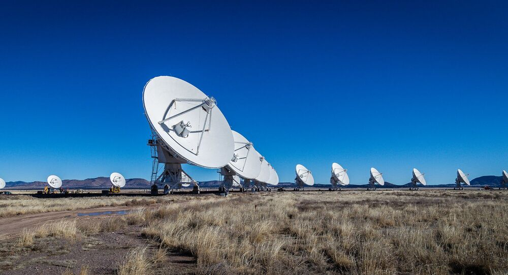 The National Radio Astronomy Observatory's Very Large Array (VLA) telescope in New Mexico