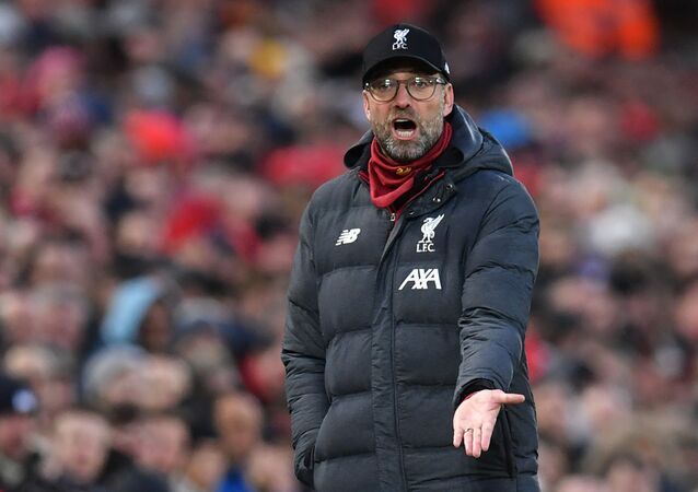 Liverpool's German manager Jurgen Klopp reacts during the English Premier League football match between Liverpool and Southampton at Anfield in Liverpool, northwest England on 1 February 2020.