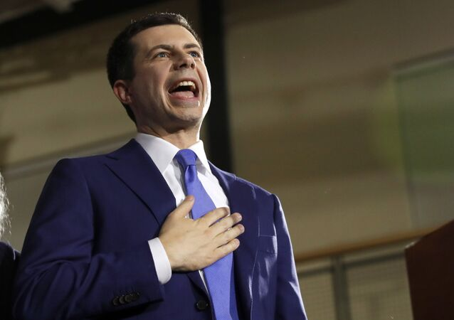 Democratic presidential candidate former South Bend, Indiana Mayor Pete Buttigieg speaks to supporters at a primary night election rally at Nashua Community College, Tuesday, 11 February 2020, in Nashua, N.H.