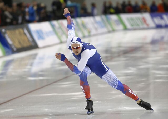 Russia's Pavel Kulizhnikov competes in the men's 500 meters during the world single distances speedskating championships