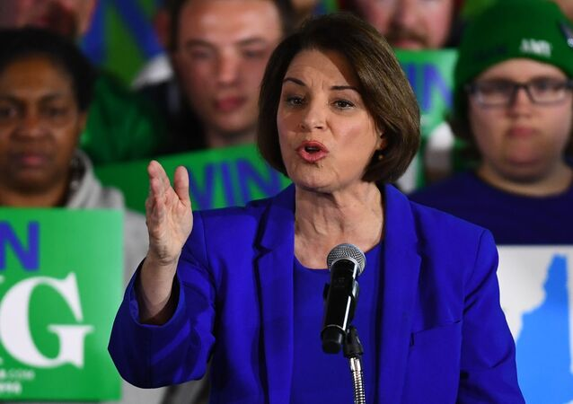 U.S. Democratic presidential candidate Senator Amy Klobuchar speaks to supporters at her New Hampshire primary night rally in Concord, New Hampshire, U.S.  February 11, 2020.