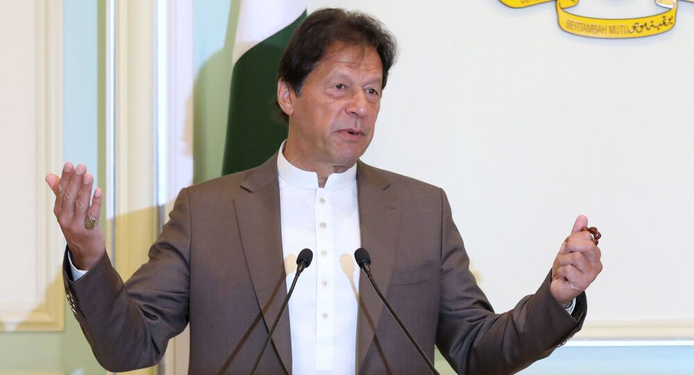 Pakistan's Prime Minister Imran Khan speaks