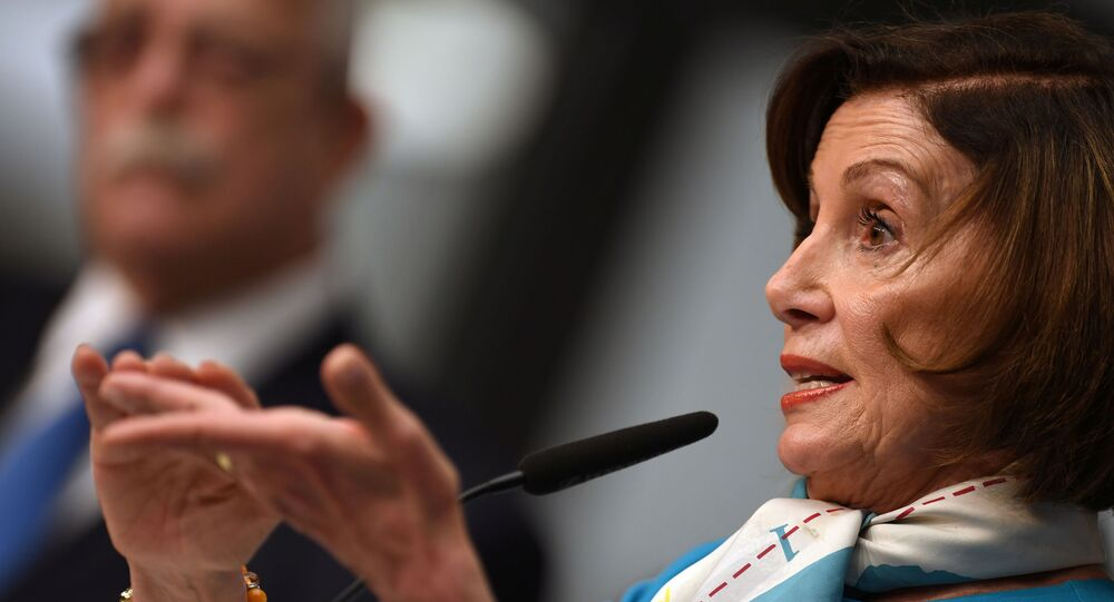 U.S. House Speaker Nancy Pelosi (D-CA) speaks at a news conference during the annual Munich Security Conference in Germany February 16, 2020.